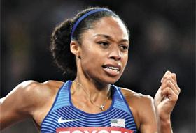 앨리슨 필릭스(미국)가 10일 세계육상선수권 여자 400m 결선에서 역주하는 모습.