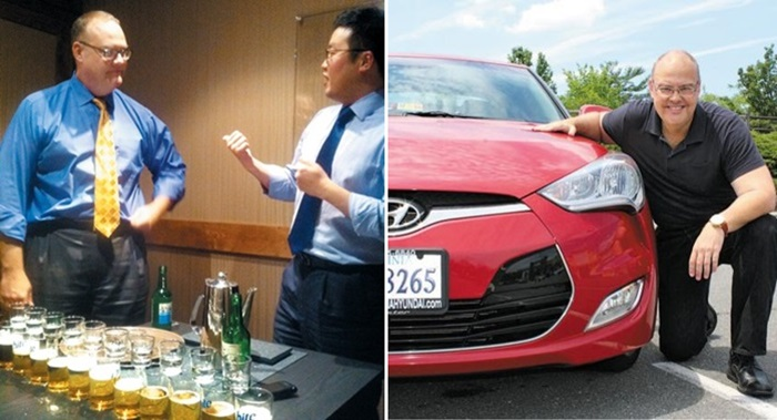에이렌스가 2010년 현대자동차 환영 회식에서 폭탄주 제조법을 배우고 있다(왼쪽 사진). 맨 앞에 있는 소주잔을 툭 치면 연쇄반응을 일으켜 줄줄이 맥주잔으로 떨어진다. 오른쪽은 그가 미국에서 모는 현대차 '마이 리틀 레드 벨로스터'와 함께./프랭크 에이렌스 제공
