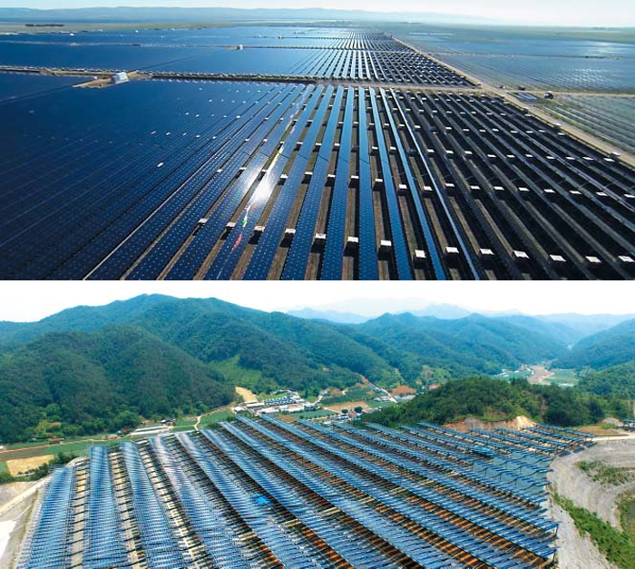 미국 캘리포니아에 들어선 세계에서 일곱 번째로 큰 태양광 발전소인 '토파즈 솔라 팜'의 모습(사진 위). 축구장 4600개 크기의 이 태양광 발전소는 900만장의 태양광 패널로 연간 미국의 16만가구가 쓸 수 있는 전기를 생산한다. 아래 사진은 강원도 영월군 남면에 들어선 국내 최대 태양광 발전소인 '영월태양광발전소'의 모습. 이곳은 국내 최대지만 미국 토파즈 솔라 팜의 면적의 4%에 불과하고, 연간 전기 생산량도 미국의 4.5%에 불과하다.