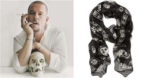 알렉산더 맥퀸(왼쪽)과 해골 스카프, 맥퀸은 줄곧 해골과 죽음의 이미지를 디자인 모티브로 사용했다. 그는 2010년 스스로 생을 마감했다./사진=핀터레스트
