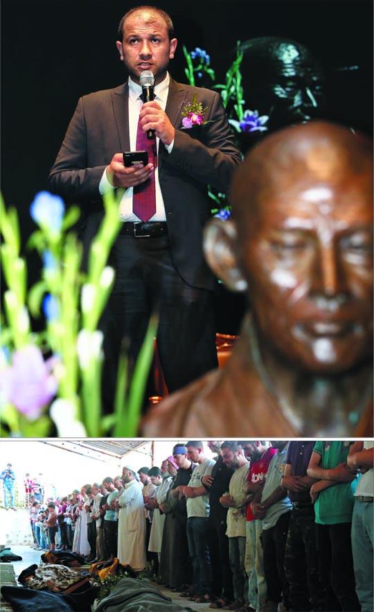 평화상 꽃다발과 동료의 장례식