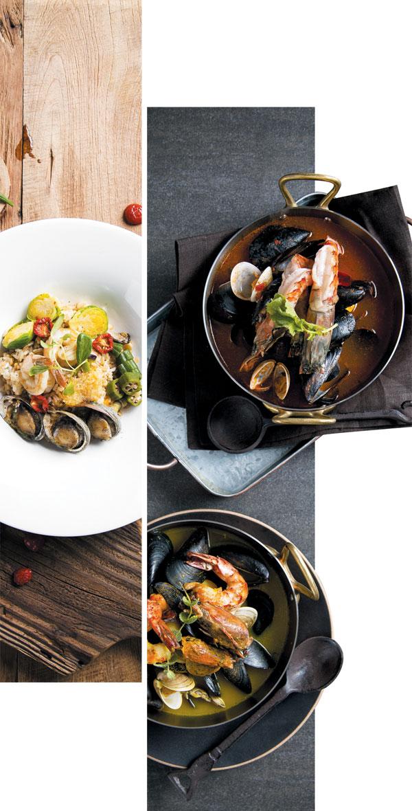 최고의 신선한 재료와 무공해 양념으로 만든 테라피토랑 안식의 메뉴, 귀리새우볶음밥과 토마토해물스튜.