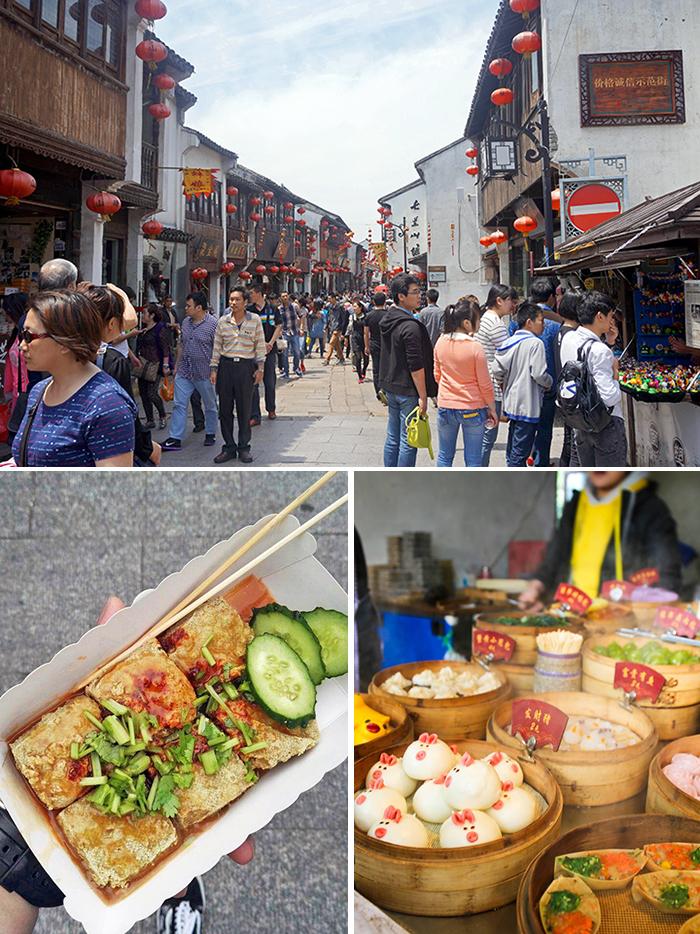 볼거리 다양한 산당가 거리(상) 산당가에서 맛볼 수 있는 간식거리(하)