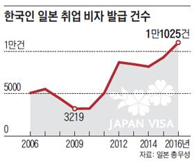 한국인 일본 취업 비자 발급 건수 그래프