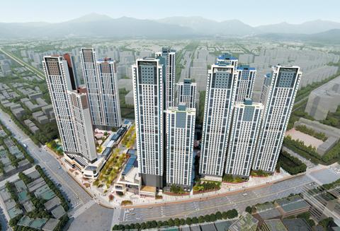 최고 49층 규모의 인천 더샵 스카이타워의 단지 중앙 근린광장은 대형 영화관을 포함한 대규모 상업시설로 개발된다. /포스코건설 제공
