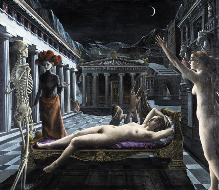 전쟁의 음울한 공포를 누드로 묘사한 폴 델보의 '잠자는 비너스', 1944년, 172.7×199.1㎝, 캔버스에 유채.