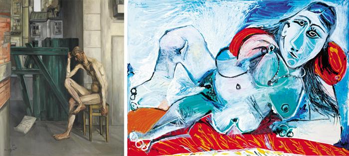 (왼쪽 사진)전쟁의 고통을 성경 속 욥의 고난에 빗댄 프랑시스 그뤼베의 '욥', 1944년, 161.9×129.9㎝, 캔버스에 유채. (오른쪽 사진)말년에도 예술적 영감이 넘쳐 흘렀던 파블로 피카소가 87세에 그린 '목걸이를 한 여성 누드', 1968년, 113.5×161.7㎝, 캔버스에 유채.