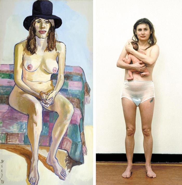 (왼쪽 사진)모델을 아름답게 과장하지 않고 있는 그대로 그렸던 앨리스 닐의 '키티 피어슨', 1973년, 152.2×76.5㎝, 캔버스에 유채. (오른쪽 사진)리네케 딕스트라의 '줄리, 헤이그 네덜란드, 1994년 2월29일', 1994년, 117×94.5㎝, 종이에 사진. 태어난 지 1시간 된 아기를 안고 있는 엄마의 실제 모습이다.