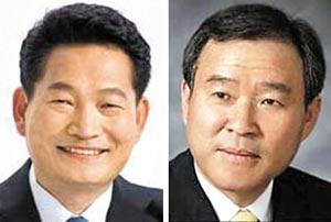 송영길(왼쪽), 정순관.
