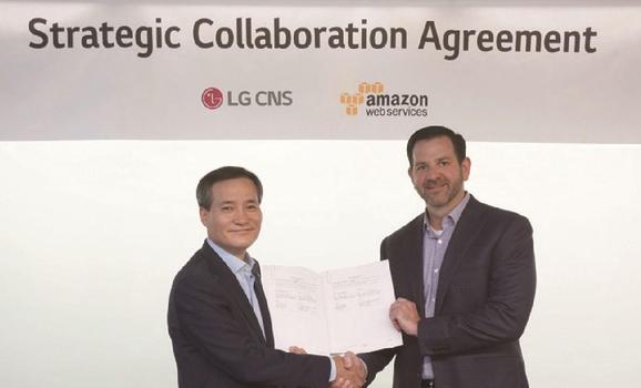 LG CNS는 아마존웹서비스(AWS)와 클라우드 사업분야에서 전략적 파트너십을 체결했다./사진=LG CNS