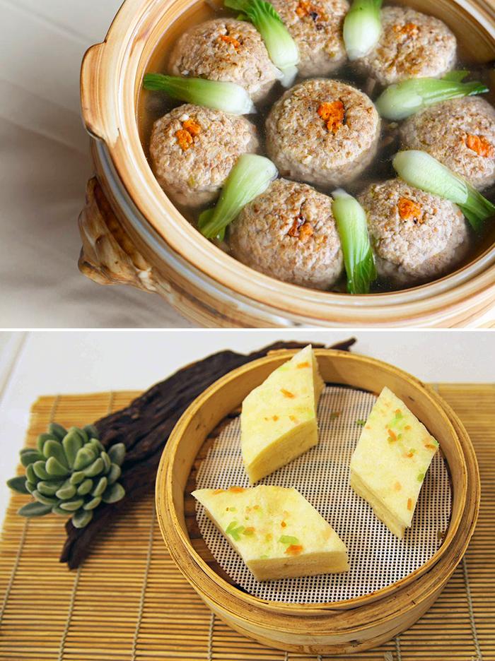 돼지고기와 게살로 맛을 낸 해분사자두(상) 얇은 피를 겹겹이 쌓아 만든 천층유고(하)