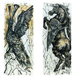 나팔 부는 봉황(왼쪽), 날개를 단 천마 등 동양 신화에 나오는 동물들로 시대를 풍자한 수묵화.