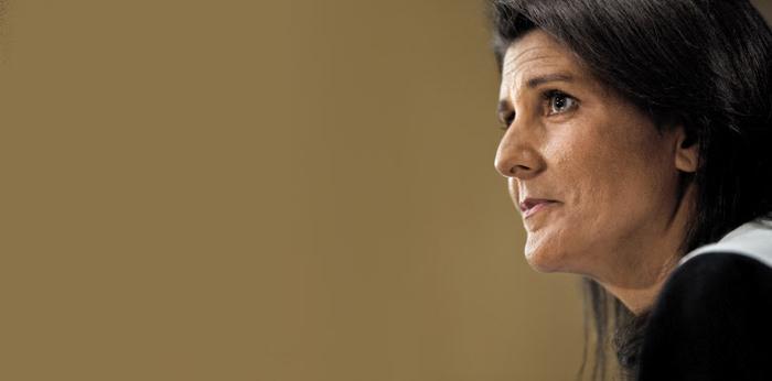 지난 1월 니키 헤일리 당시 유엔 주재 미국 대사 지명자가 상원 외교위원회 청문회에 참석한 모습. 헤일리 대사는 미국의 대북 강경 정책을 주도하면서 차기 국무장관 후보로 거론되고 있다.