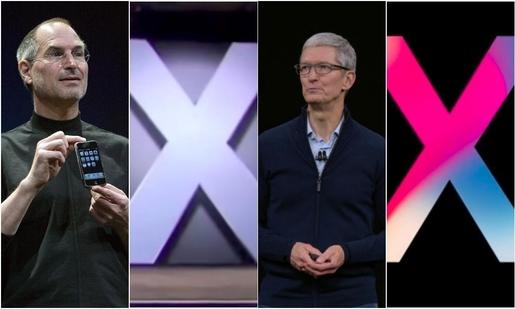 스티브잡스(왼쪽 첫번째)와 팀 쿡(왼쪽 세번째)이 2007년과 2017년 10년 차이로 아이폰 공개행사에서 '엑스(X)'를 표시했다. /조선DB, 애플 스트리밍 캡처
