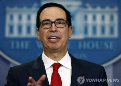 스티븐 므누신 미 재무장관은 유엔의 대북 제재를 중국이 충실히 이행하지 않으면 달러시스템에서 배제시키겠다고 경고했다. /연합뉴스