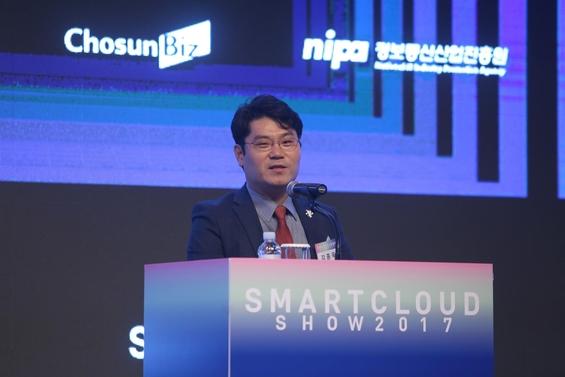 김종욱 서울특별시 정무부시장이 스마트클라우드쇼 2017 개막행사에서 축사를 하고 있다. /조선DB