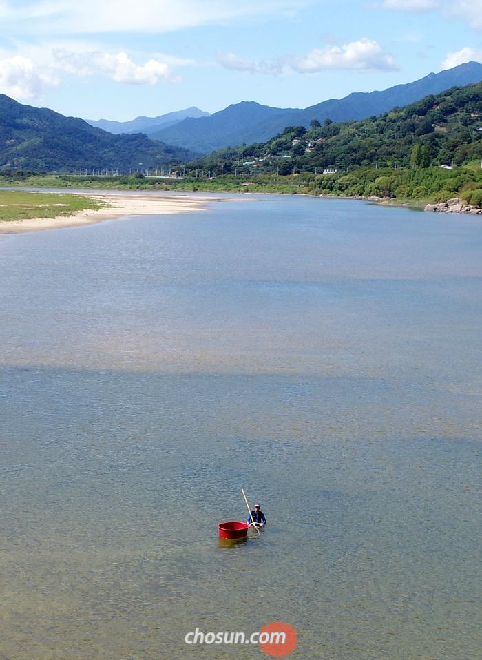 전남 구례가 고향인 이시영 시인이 경남 하동을 바라보며 쓴 시 '하동'의 젖줄이 된 섬진강의 가을. 얕은 곳에서 주민이 재첩을 채취하고 있다.