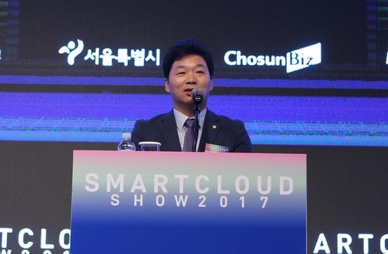 김병관 더불어민주당 국회의원이 스마트클라우드쇼2017 개막행사에 참석해 축사를 하고 있다. /조선DB