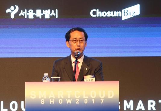 송의달 조선비즈 대표가 스마트클라우드쇼 2017 개막식에서 인사말을 하고 있다. /조선DB