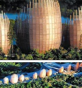 장 마리 치바우 문화 센터, 부지면적: 8㏊(2만4200평), 건축면적: 8555㎡(2586평).