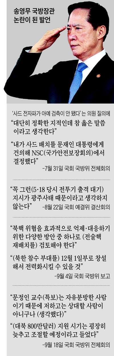 송영무 국방장관 논란이 된 발언