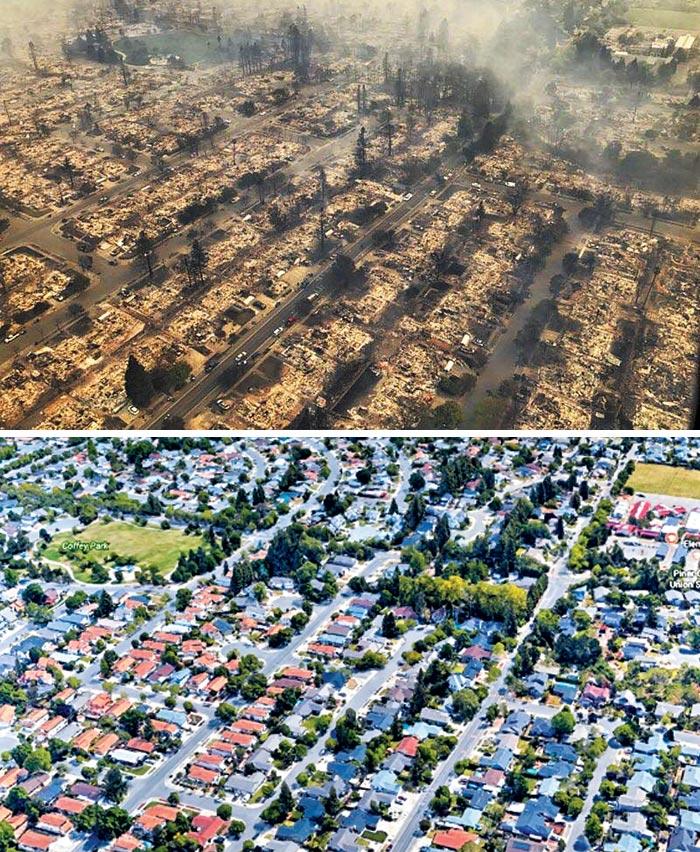 8일(현지 시각) 미국 캘리포니아주(州) 북서부 소노마 카운티의 샌타로자시(市) 부근에서 발생한 산불로 깔끔하던 주택가 코피 파크(왼쪽 아래 사진)가 온통 잿더미(위)로 변했다.