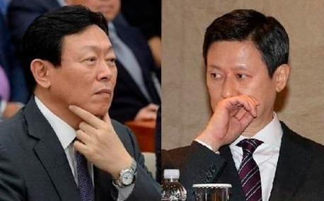 신동빈 롯데그룹 회장(왼쪽)과 신동주 전 일본롯데홀딩스 부회장(오른쪽). /조선비즈DB