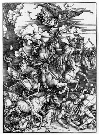 독일 화가 알브레히트 뒤러의 15세기 판화 '묵시록의 네 기사'. 그림 오른쪽부터 차례로 세계의 종말과 함께 등장하는 전염병, 전쟁, 기근, 죽음을 상징한다. 저자는 책에서 대중 동원 전쟁, 변혁적 혁명, 국가 실패, 치명적 대유행병이라는 '평준화의 네 기사'를 새로이 명명한다.