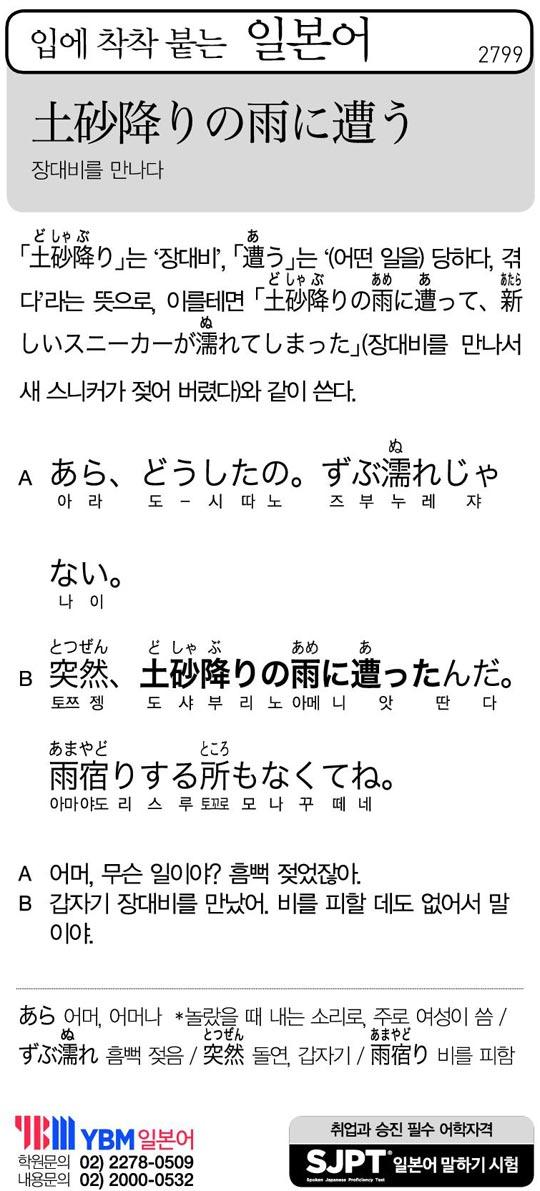 [입에 착착 붙는 일본어] 장대비를 만나다