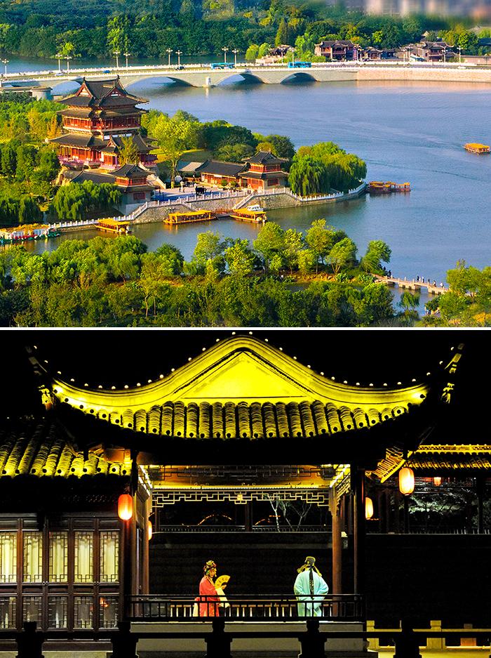 타이저우 도심을 가로질러 흐르는 봉성하(상) 유람선을 타며 경극공연을 관람할 수 있는 봉성하(하)