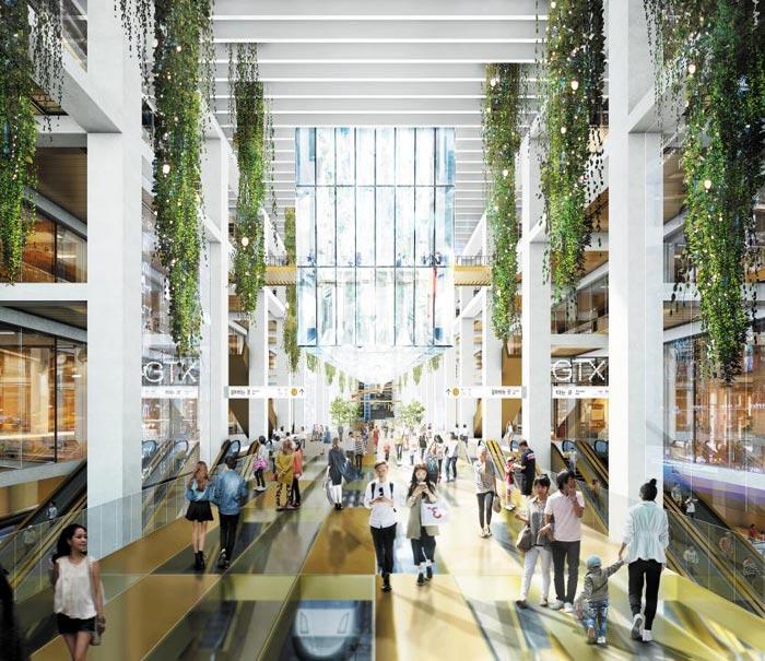철도역과 도서관, 전시 공간, 상업 시설 등이 들어설 영동대로 환승센터는 지상의 자연광이 지하 4층까지 스며들도록 설계된다.