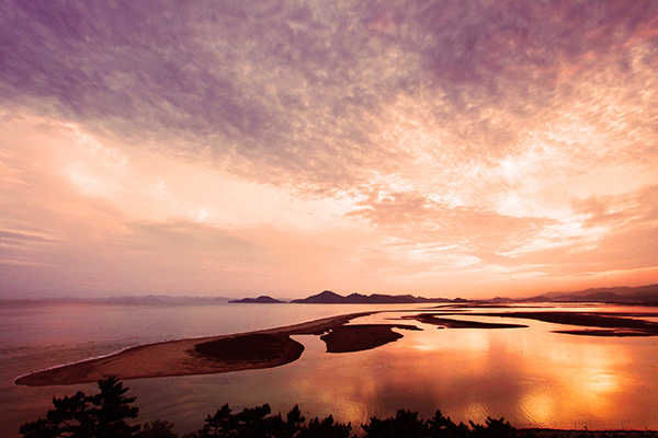 자연과 환경을 배우고 모래섬과 철새를 조망할 수 있는 아미산 전망대