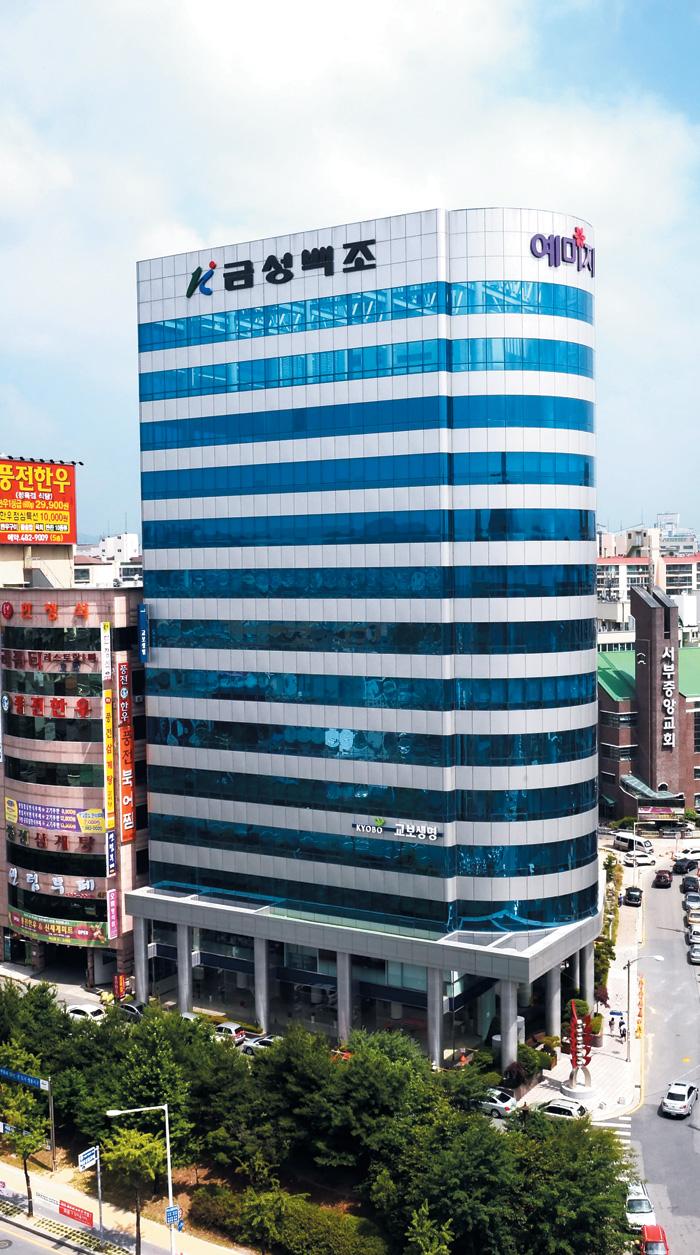 대전 서구 탄방동에 위치한 금성백조주택 본사인 예미지 빌딩의 모습