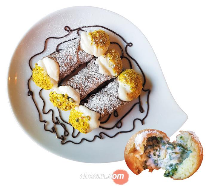 시칠리아 음식점'츄리츄리'의 카놀리(왼쪽)와 아란치니.