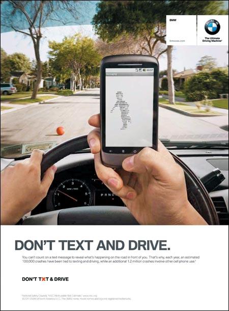 운전 중 문자 송수신 금지 캠페인, 광고주: BMW 북미법인, 디자인: KBS+P(뉴욕), 2011년.