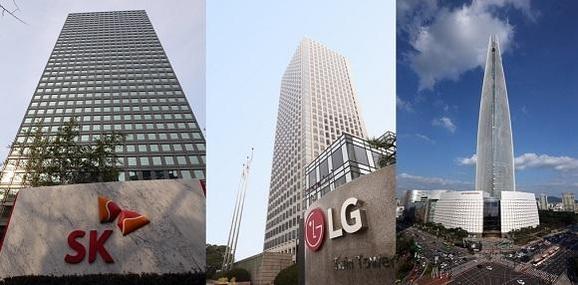 왼쪽부터 SK서린동 빌딩, LG 트윈타워, 롯데월드타워./조선일보 DB