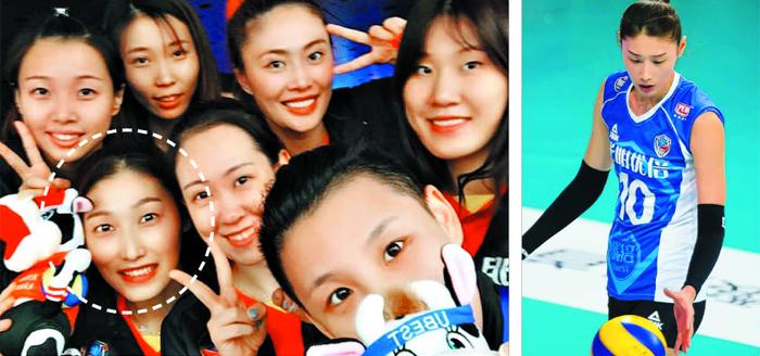 김연경이 시즌 개막을 앞두고 동료들과 셀카를 찍은 모습(왼쪽 흰 원). 오른쪽 사진은 지난달 27일 개막전 홈경기에서 서브를 준비하는 김연경.
