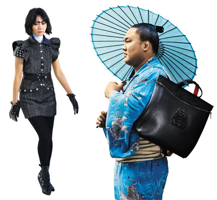 루이비통의 2018년 리조트 컬렉션에 모델로 나온 배두나(왼쪽)와 루부탱 화보에 등장한 일본 스모 선수 이시우라 마사카쓰.