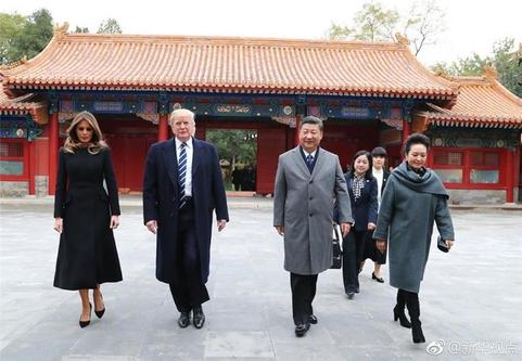 중국 신화통신은 시진핑 국가주석 부부가 8일 하루 휴관한 베이징의 자금성에서 도널드 트럼프 미국 대통령 부부를 환대했다고 보도했다.  /신화통신