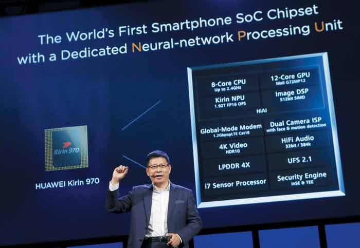 지난 9월 독일 베를린에서 열린 유럽 최대 IT 전시회 'IFA 2017'에서 화웨이의 리처드 유 CEO가 NPU(신경망 처리 장치)를 탑재한 AP '기린 970'을 발표하고 있다.