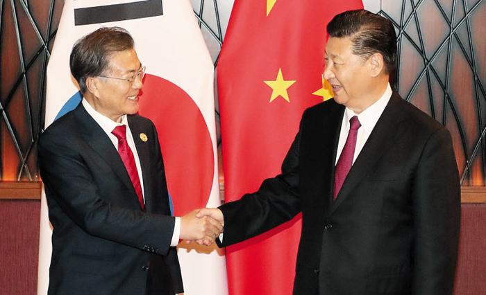 문재인(왼쪽) 대통령과 시진핑(習近平) 중국 국가주석이 11일(현지 시각) 베트남 다낭의 한 호텔에서 열린 한·중 정상회담에서 악수를 하고 있다.