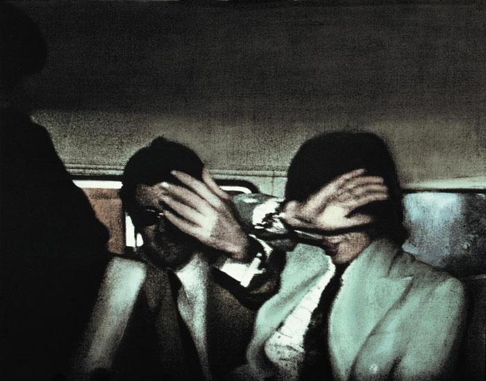 마약 복용으로 체포된 롤링스톤스 멤버 믹 재거의 사진을 유화로 작업한 '스윈징 런던'(1968~69).