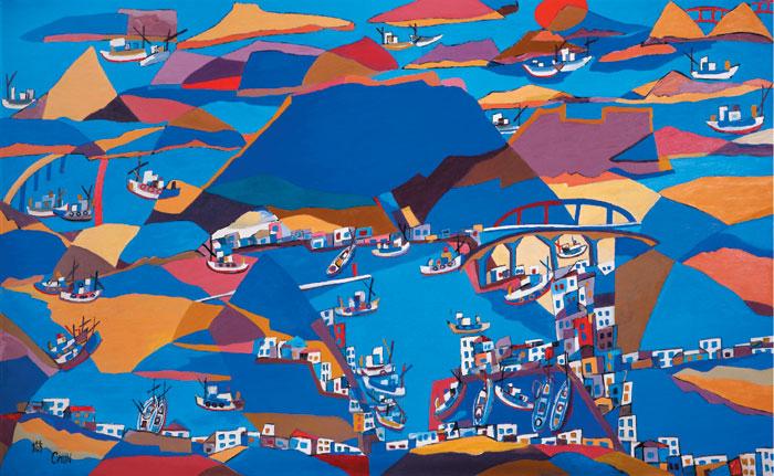 다도해의 푸른 바다를 그린 전혁림의'통영항'(2005).