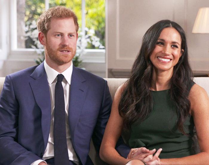 영국 해리 왕자와 미국 배우 메건 마클이 27일 런던에서 약혼에 대해 인터뷰하는 모습.