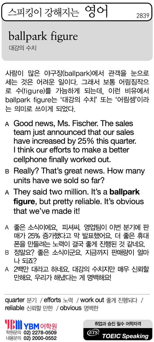 [스피킹이 강해지는 영어] ballpark figure