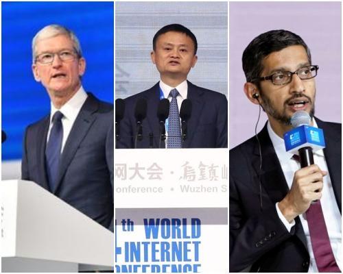 (왼쪽부터) 중국 WIC에 참가한 팀 쿡 애플 최고경영자(CEO), 마윈 알리바바 회장, 선다 피차이 구글 CEO /WIC 홈페이지 캡처