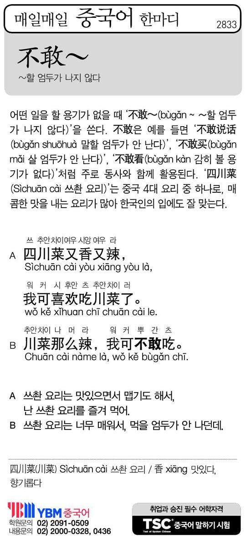 [매일매일 중국어 한마디] ~할 엄두가 나지 않다