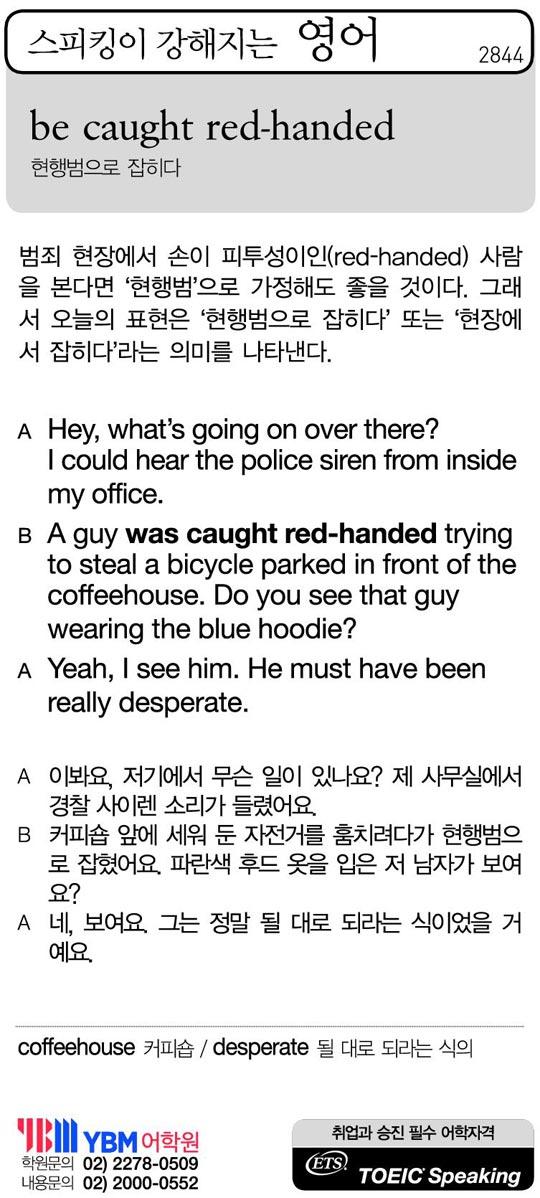 [스피킹이 강해지는 영어] be caught red-handed