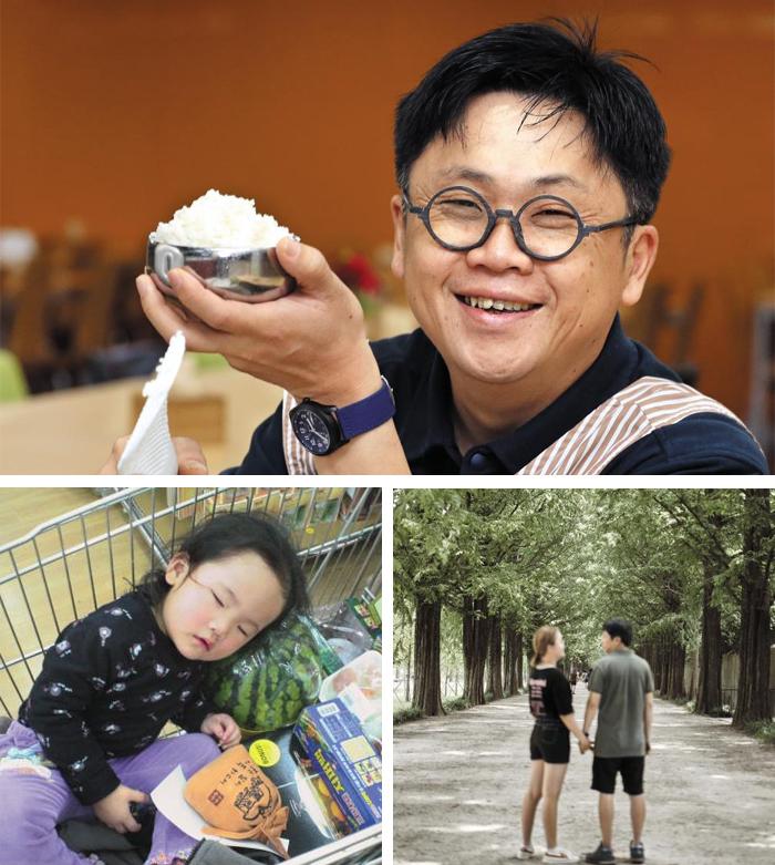 """매일 딸의 아침·저녁 식사를 차려주는 식품 MD 김진영씨는 """"밥해주며 대화할 수 있어 좋다""""고 했다. 쇼핑 카트에서 잠들던 꼬마는 이제 키가 아빠와 비슷한 중학교 2학년생으로 자랐다. 아빠가 해주는 밥을 매일 먹어서인지 손을 스스럼없이 잡을 만큼 부녀 사이가 가깝다."""
