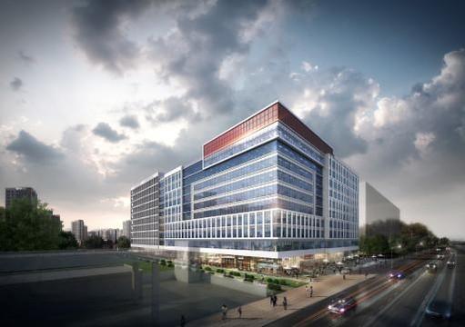 SK건설이 경기 하남 미사강변신도시에 짓는 지식산업센터 '미사강변 SK V1 센터' 투시도. /SK건설 제공